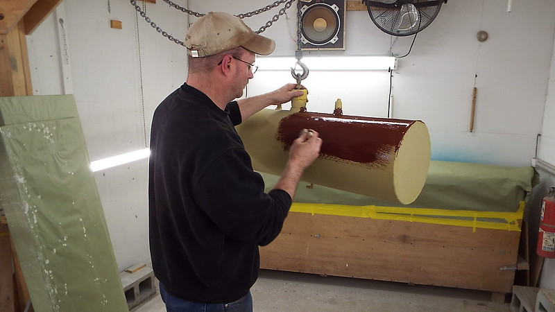 Painting the fuel tank.