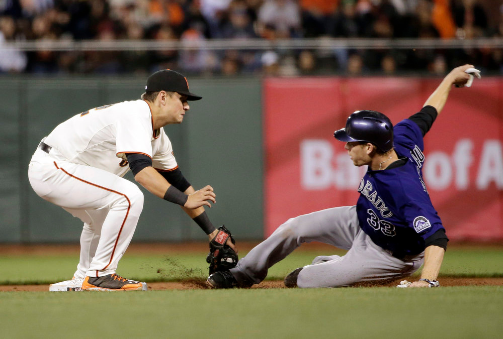 . San Francisco Giants second baseman Joe Panik, left, tags out Colorado Rockies\' Justin Morneau on a steal attempt at second base during the sixth inning of a baseball game Monday, Aug. 25, 2014, in San Francisco. (AP Photo/Marcio Jose Sanchez)