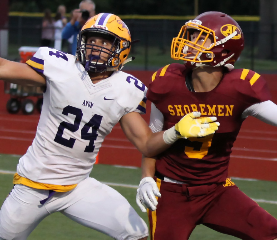 . Randy Meyers - The Morning Journal<br> Avon\'s Aaron Endrizal defends Nathan Sidloski on a pass play in the end zone during the first quarter on Sept. 7.