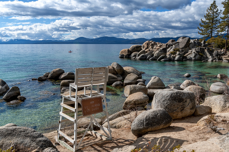 No lifeguard on duty at Sand Harbor State Park at Lake Tahoe