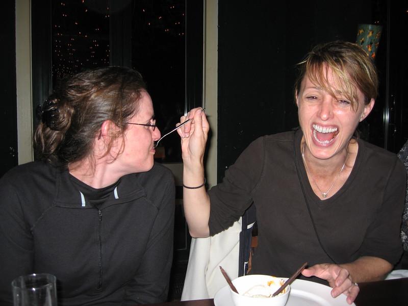 Erin feeds Kara ice cream
