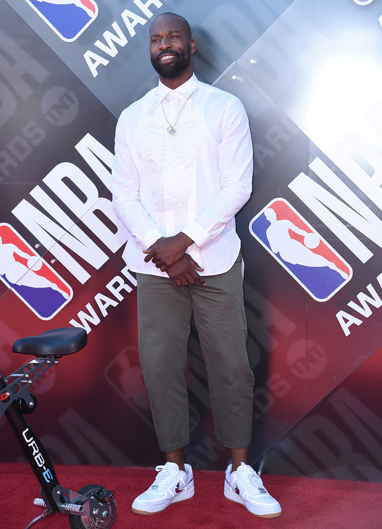 . Baron Davis arrives at the NBA Awards on Monday, June 25, 2018, at the Barker Hangar in Santa Monica, Calif. (Photo by Richard Shotwell/Invision/AP)
