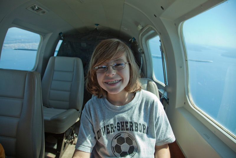Alex loving the flight!