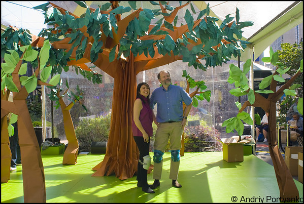 Linda Tomoko Mihara and Robert J. Lang in front of their origami forest during the Climate Week Event in NYC on Sep 2009