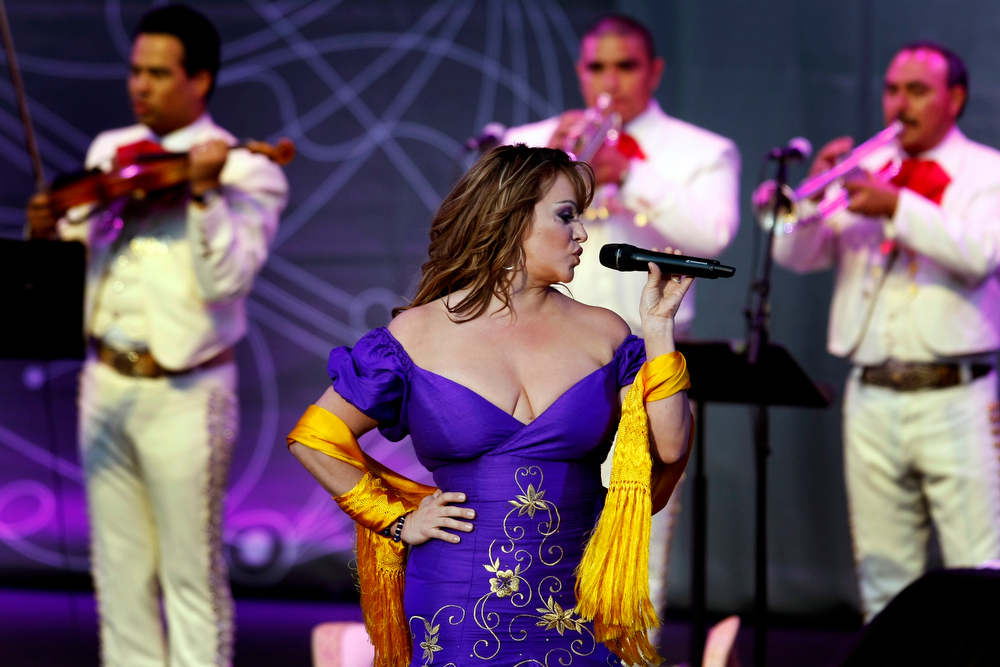 . Mexican-American singer Jenni Rivera, a popular recording artist and reality television star, is feared dead after a small plane crashed early Sunday in northern Mexico. Here, Rivera, performs in Irvine, California on July 10, 2012. (Rick Loomis/Los Angeles Times/MCT)