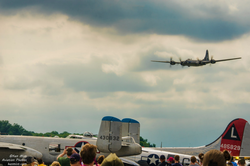 B-29 FIFI at World War II Weekend put on by the Mid-Atlantic Air Museum in Reading Pennsylvania.  Also shown is the B-17 Yankee Lady and B-25 Take Off Time.