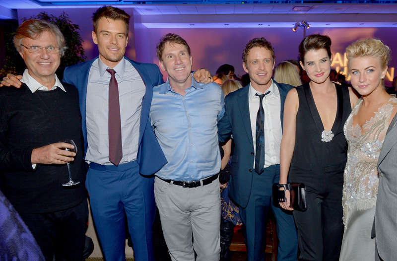 """. Director Lasse Hallstrom, actor Josh Duhamel, author/producer Nicholas Sparks, actors David Lyons, Cobie Smulders, and Julianne Hough attend the premiere of Relativity Media\'s \""""Safe Haven\"""" after party at The Terrace At Hollywood & Highland on February 5, 2013 in Hollywood, California.  (Photo by Alberto E. Rodriguez/Getty Images for Relativity Media)"""