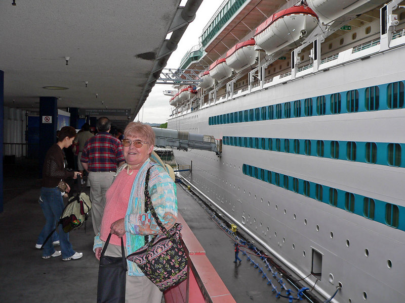 Mom as we embark on the Monarch of the Seas in LA. I was not supposed to take this as we were still on the dock. But I'm wondering why since I was able to take pics of the same dock from my balcony once we boarded???Another government security decision that makes NO SENSE!!!