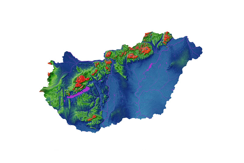 Elevation map of Hungary