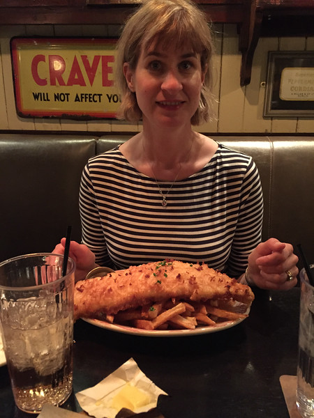 Dinner at Ri Ra Irish Pub.  The portions have been supersized since the last time we were there.  Fish and chips (Icelandic haddock)