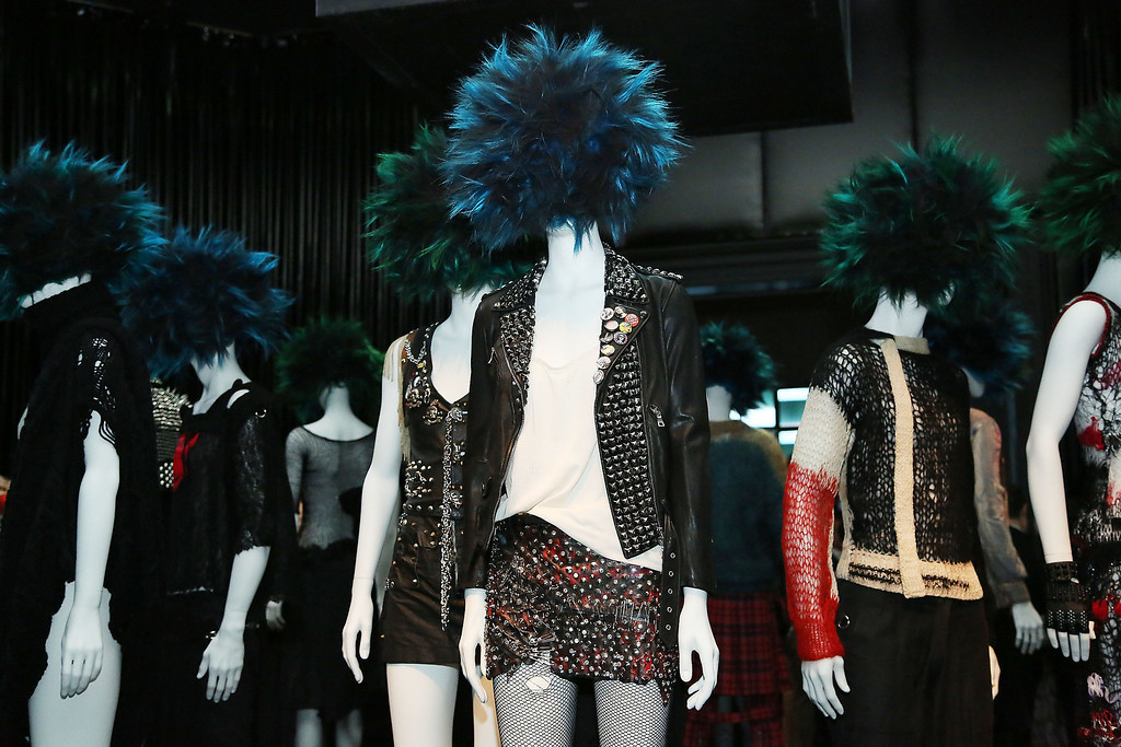 """. \""""PUNK: Chaos to Couture\"""" Costume Institute Exhibition Press Preview at the Metropolitan Museum of Art on May 6, 2013 in New York City.  (Photo by Rob Kim/Getty Images)"""