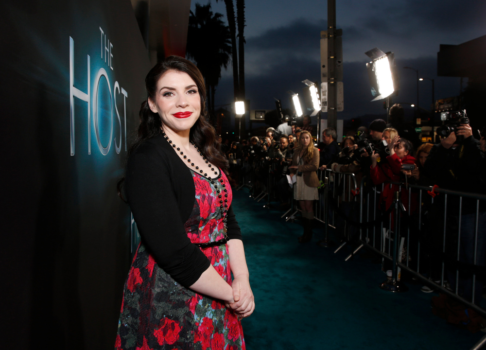 """. Author Stephenie Meyer arrives at the LA premiere of \""""The Host\"""" at the ArcLight Hollywood on Tuesday, March 19, 2013 in Los Angeles. (Photo by Todd Williamson/Invision/AP)"""