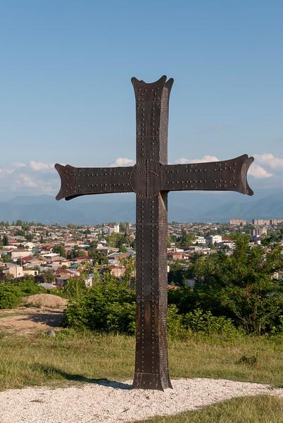 Metal Cross outside Bagrati Cathedral of Dormition, Kutaisi, Georgia