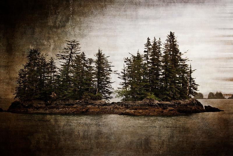 Island in Prince William Sound - grunge effect
