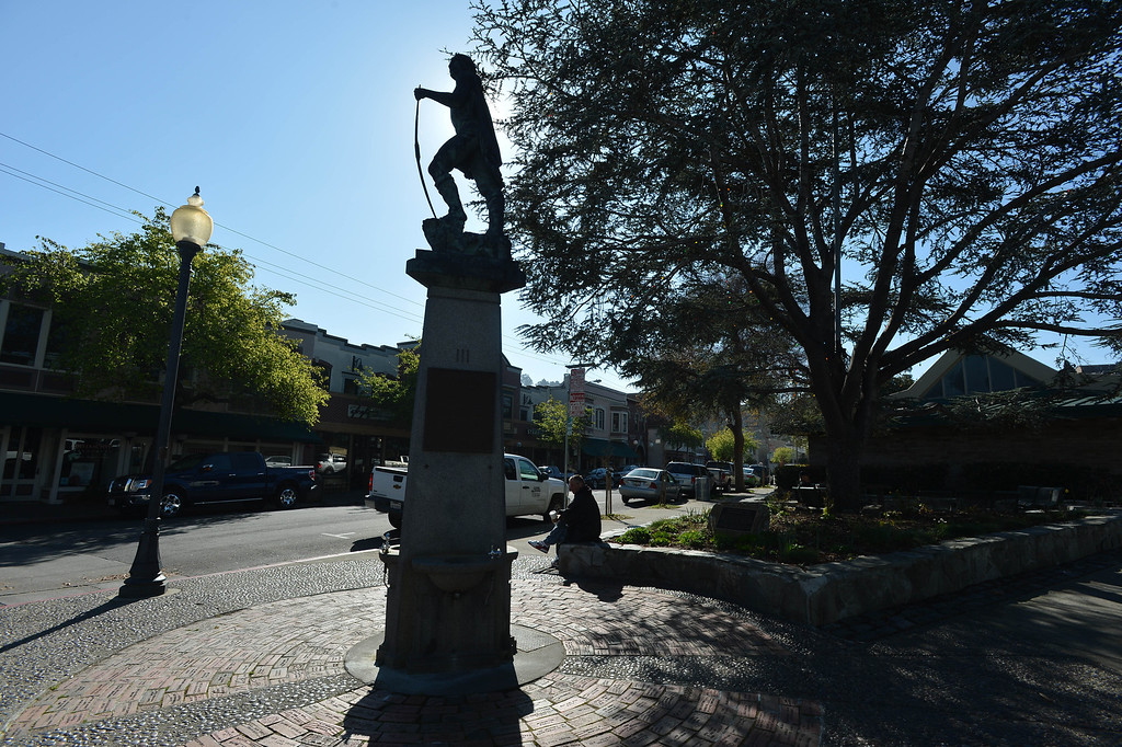 ". The ""Indian Statue\"" welcomes visitors to the Point Richmond area of Richmond, Calif. on Tuesday, Feb. 12, 2013. (Kristopher Skinner/Staff)"