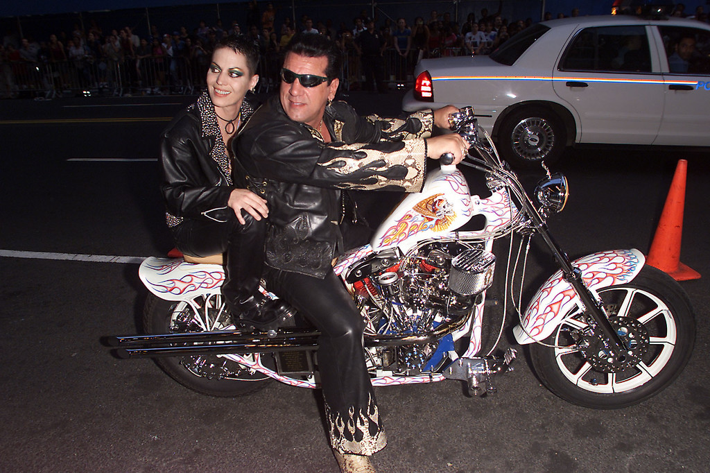 """. Chuck Zito and Joan Jett arrive at the MTV 20th Anniversary party, \""""MTV20: Live and Almost Legal\"""" at Hammerstein Ballroom in New York City, 8/1/01. Photo by Frank Micelotta/ImageDirect."""