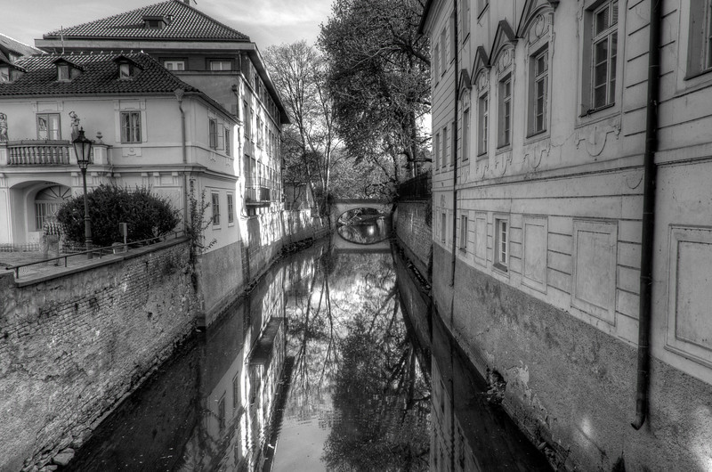 Secluded river bank in Prague in B&W - Czech Republic