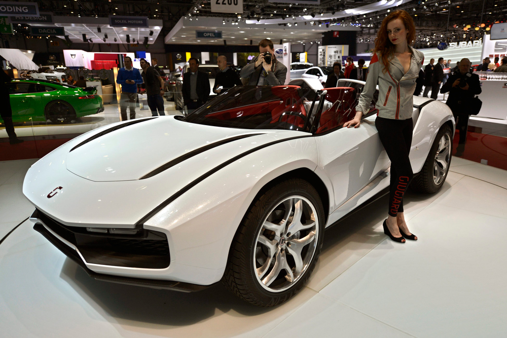 . The new Italdesign-Giugiaro Prototype Roadster is shown during the press day at the 83rd Geneva International Motor Show in Geneva, Switzerland, Tuesday, March 5, 2013. The Motor Show will open its gates to the public from 7th to 17th March presenting more than 260 exhibitors and more than 130 world and European premieres. (AP Photo/Keystone, Martial Trezzini)