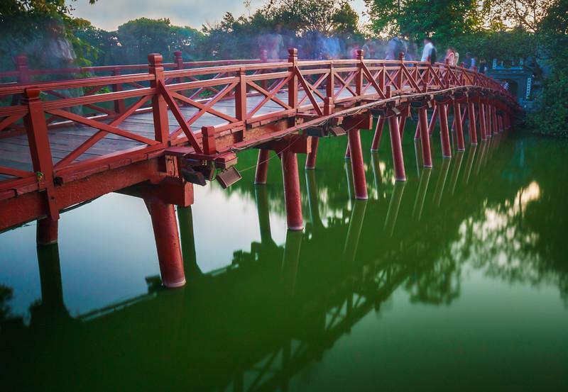 The Huc Bridge at Hoàn Kiếm Lake.