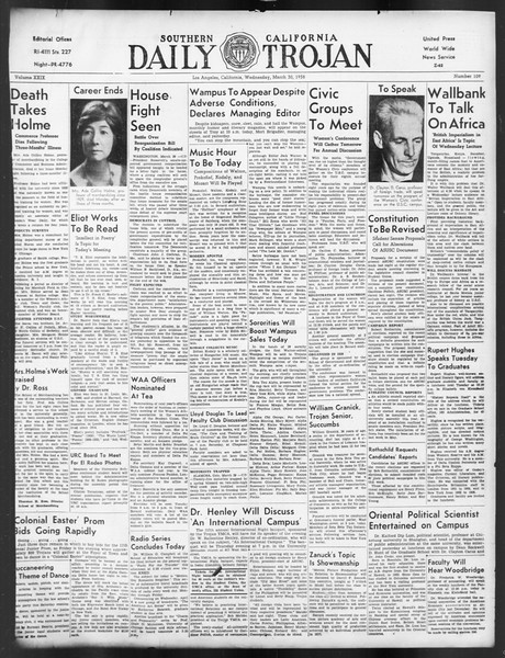 Daily Trojan, Vol. 29, No. 109, March 30, 1938