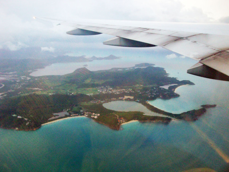 The 8-odd hour flight from London first touches down here at Antigua. We were supposed to make a short hop to St Kitts, but just as we were about to depart, they closed the airport there due to the weather. The tropical storm wasn't quite over...