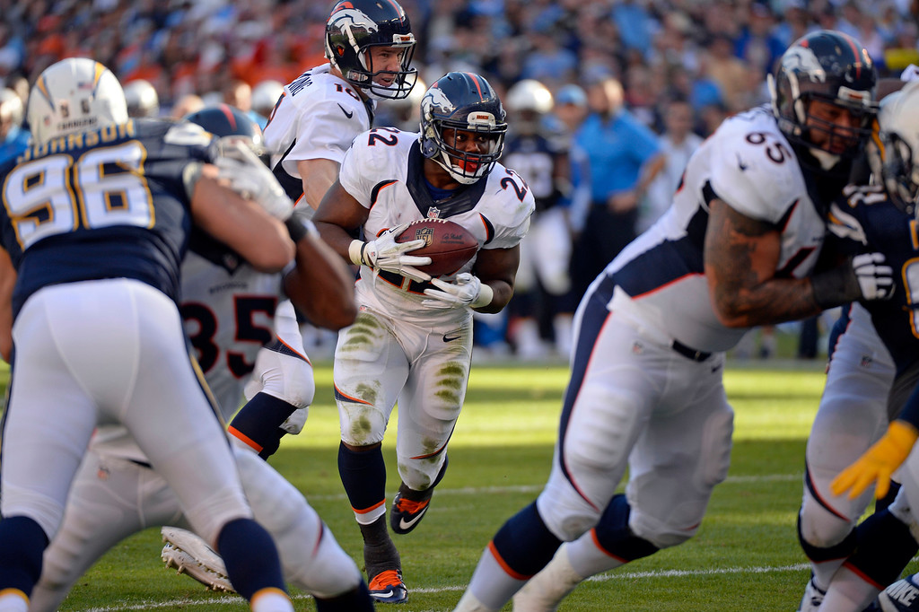 . SAN DIEGO, CA - DECEMBER 14: Denver Broncos running back C.J. Anderson (22) takes the handoff from Denver Broncos quarterback Peyton Manning (18) at the goal line during the second quarter agains the San Diego Chargers December 14, 2014 at Qualcomm Stadium. Anderson scored on the play but was ruled his knee ouched before going in to the end zone. Denver settled for a field goal. (Photo By John Leyba/The Denver Post)