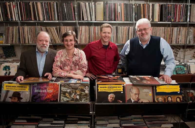 WFMT Classical Music Announcers, Lisa Flynn, George Preston, Carl Grapentine and Kerry Frumkin. Photo by Megan Bearder