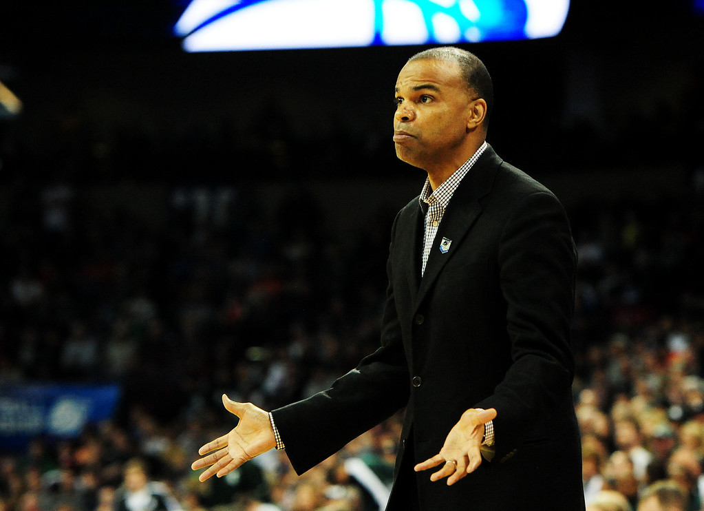 . SPOKANE, WA - MARCH 22:  Head coach Tommy Amaker of the Harvard Crimson reacts in the first half against the Michigan State Spartans during the Third Round of the 2014 NCAA Basketball Tournament at Spokane Veterans Memorial Arena on March 22, 2014 in Spokane, Washington.  (Photo by Steve Dykes/Getty Images)
