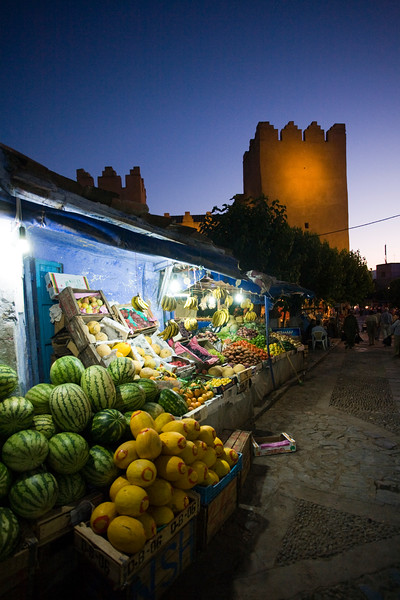 Street stalls selling fruits by the Kasbah, Town of Chefchaouen, northern Morocco, Africa