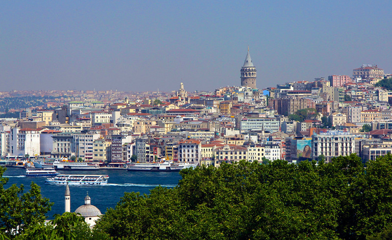 View from Topkapi Palace across the Golden Horn to the Beyoğlu district of Istanbul
