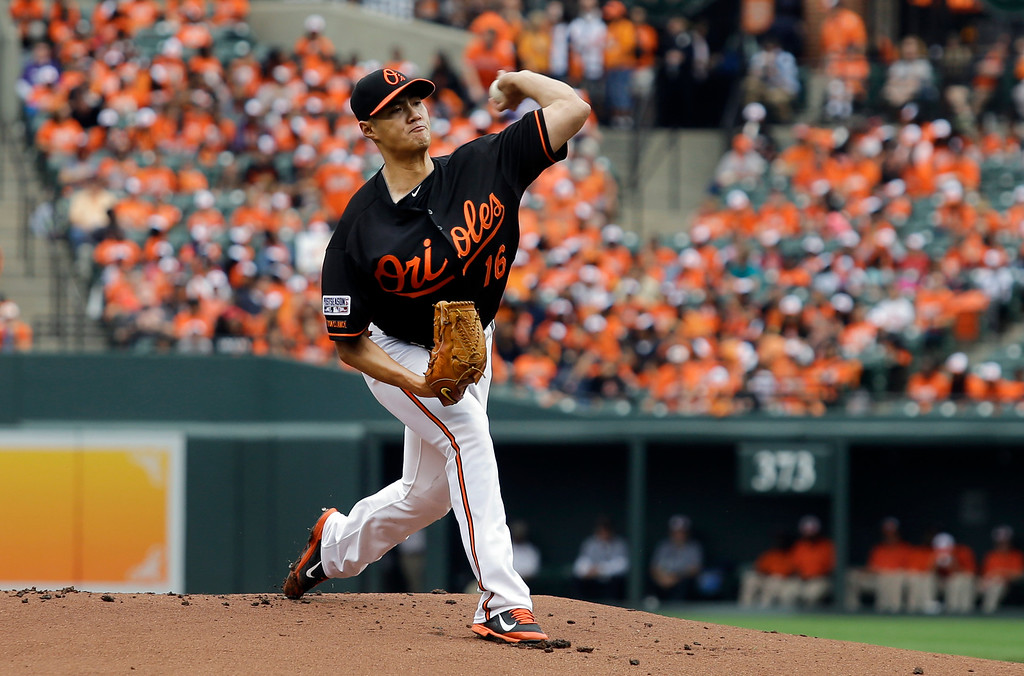 . Baltimore Orioles starting pitcher Wei-Yin Chen, of Taiwan, throws to the Detroit Tigers in the first inning of Game 2 in baseball\'s AL Division Series in Baltimore, Friday, Oct. 3, 2014. (AP Photo/Patrick Semansky)