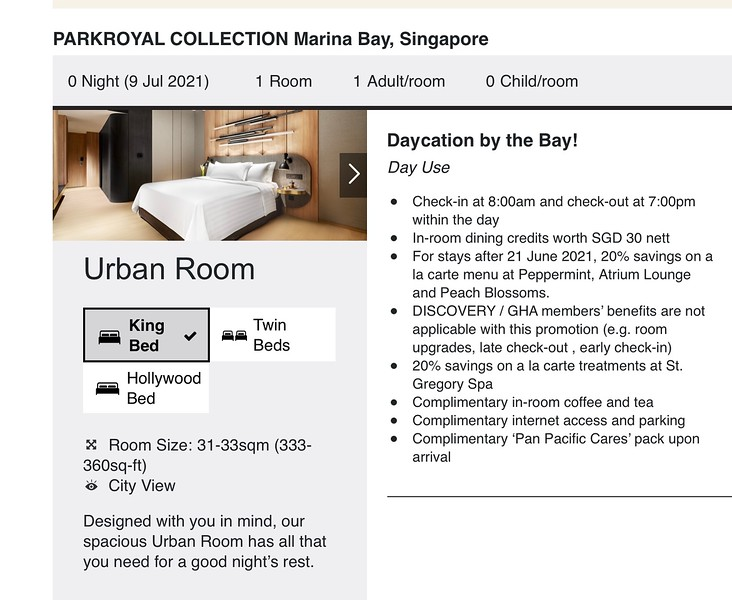 Day Stay at the PARKROYAL COLLECTION Marina Bay