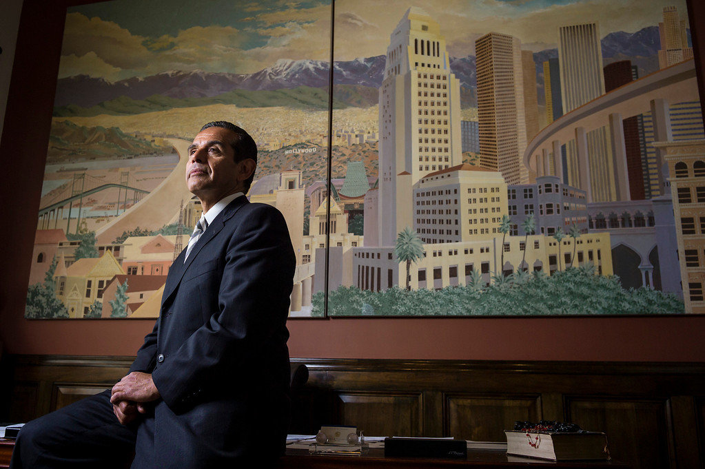 . Los Angeles Mayor Antonio Villaraigosa talks about his goals for his final year in office.  (Photo by David Crane/L.A. Daily News)