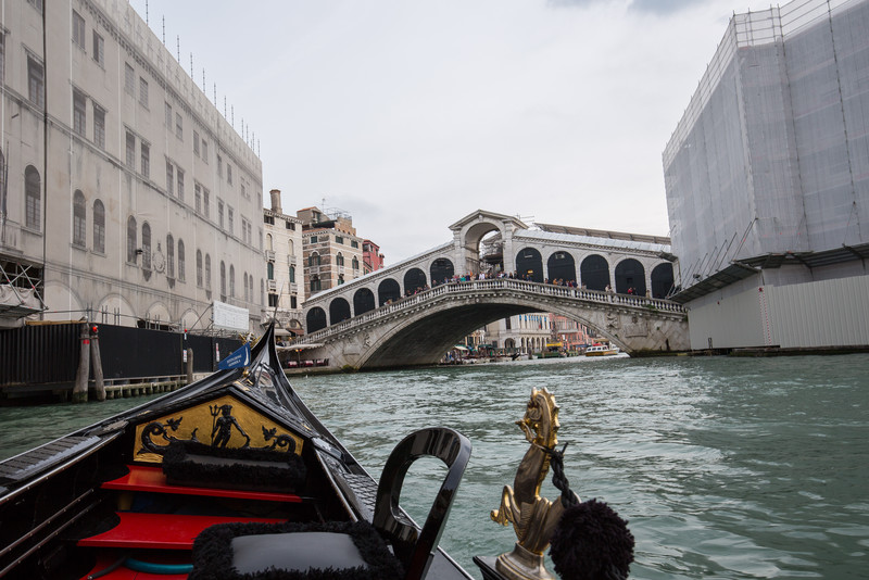 A view of the (under repair) Rialto Bridge from our gondola ride in the Grand Canal.