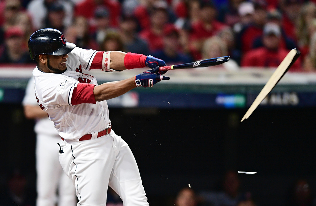 . Cleveland Indians\' Edwin Encarnacion breaks his bat after grounding out in the first inning of Game 1 of baseball\'s American League Division Series against the New York Yankees, Thursday, Oct. 5, 2017, in Cleveland. (AP Photo/David Dermer)