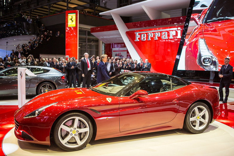 . Ferrari president Luca Cordero di Montezemolo stands near the brand\'s latest car, the California T, during its unveiling on March 4, 2014 at the Geneva Motor Show.  PIERRE ALBOUY/AFP/Getty Images