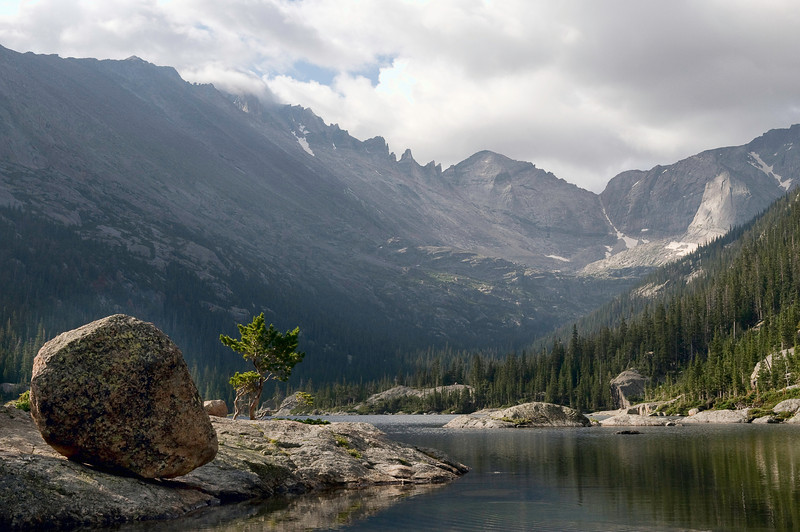 At Mills Lake, Lake, Rocky Mountain National Park, Colorado.