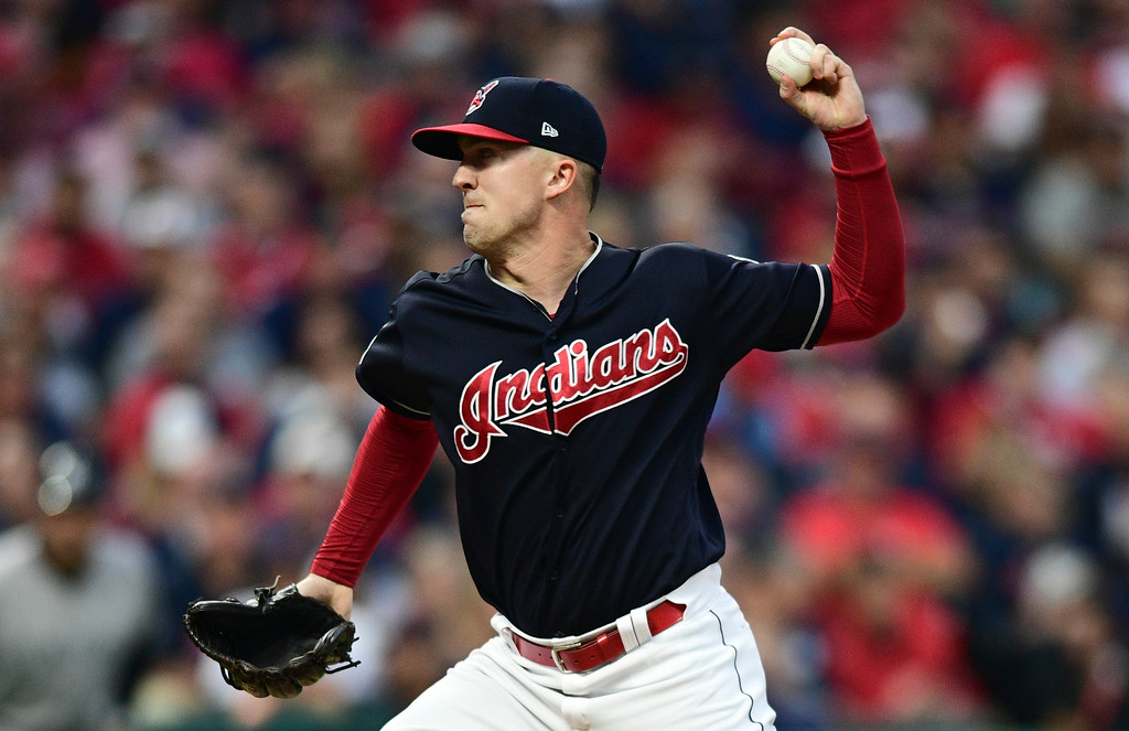 . Cleveland Indians relief pitcher Tyler Olson delivers in the fourth inning of Game 2 of baseball\'s American League Division Series against the New York Yankees, Friday, Oct. 6, 2017, in Cleveland. (AP Photo/David Dermer)