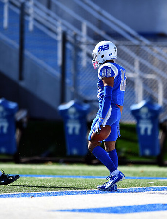10/26/2019 Mike Orazzi | Staff CCSU's Kyren Petteway (82) during Saturday's football game with Long Island University in New Britain.