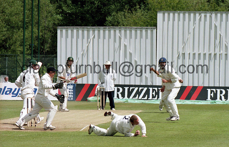 Tony Cottey of Sussex catches Kevin Pieterson off the bowling of Mushtaq Ahmed for 1 in Notts second innings