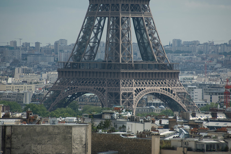 Shot of the view underneath the Eiffel Tower - Paris, France