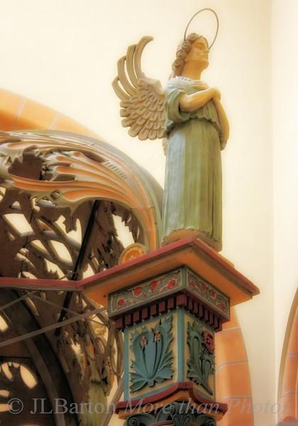 Angel above the Maria altar in the Franz von Asissi church in Vienna's 2nd district