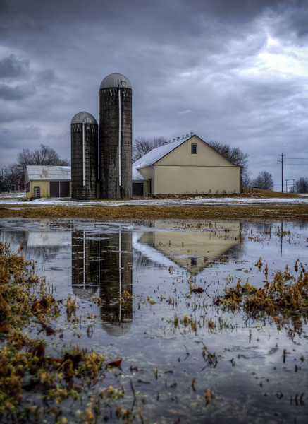 snow - barn and silos puddle reflection(p).jpg