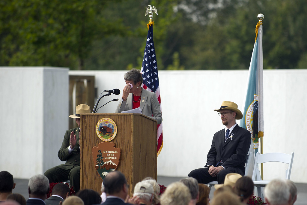 . United States Secretary of the Interior Sally Jewell speaks to an audience at the Flight 93 National Memorial during ceremonies commemorating the 12th anniversary of the 9/11 attacks on September 11, 2013 in Shanksville, Pennsylvania.  (Photo by Jeff Swensen/Getty Images)