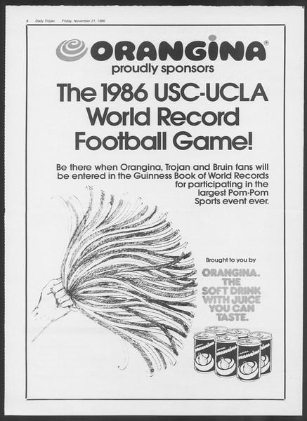 Daily Trojan, Vol. 102, No. 58, November 21, 1986