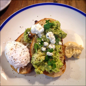 Smashed avocado and eggs at Coterie and Co.