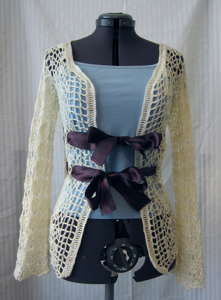 Go For Baroque Sweater Made from Bernat Baby Solid in antique white Pattern Go For Baroque by Jennifer Hansen