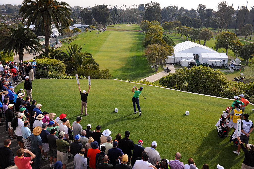 . Jordan Spieth tees off from the first hole during the third round of the Northern Trust Open, Saturday, February 15, 2014, at Riviera Country Club. (Photo by Michael Owen Baker/L.A. Daily News)