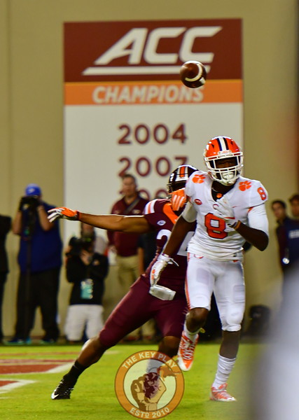 Anthony Shegog, #24 defends against Jr WR, Deon Cain, #8. Pass was incomplete. (Dan Lohmann/TheKeyPlay.com)