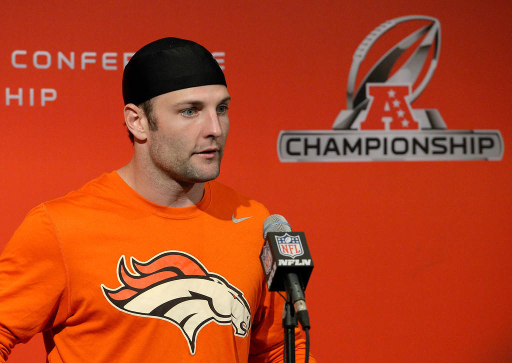 . Denver Broncos wide receiver Wes Welker (83) addresses the media during his press conference January 15, 2014 at Dove Valley. The Broncos will face the patriots for the AFC title.  (Photo by John Leyba/The Denver Post)